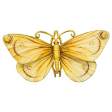 Large Antique Tiffany & Co. Victorian Enamel 18 Karat Gold Butterfly Brooch