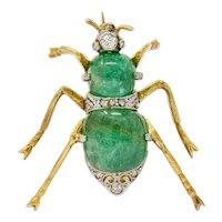 Edwardian Emerald Diamond Platinum-Topped 14 Karat Gold Insect Brooch