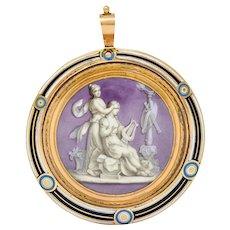 Georgian Enamel 15 Karat Rose Gold Orpheus & Eurydice Neoclassical Locket Pendant Circa 1800