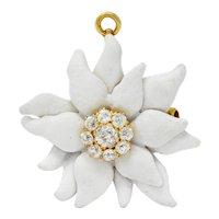 Antique Tiffany & Co. Paulding Farnham 1.30 CTW Diamond Enamel 18 Karat Gold Edelweiss Flower Pendant Brooch