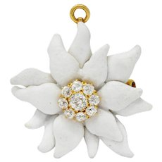 Antique Tiffany & Co. Paulding Farnham 1.30 CTW Diamond Enamel 18 Karat Gold Edelweiss Flower Pendant Brooch