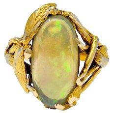 Walton & Co. Arts & Crafts Opal 14 Karat Gold Dragonfly Ring
