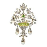 Edwardian Diamond Demantoid Garnet Pearl Platinum-Topped 14 Karat Gold Garden Pendant
