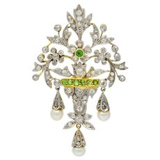 Edwardian Diamond Demantoid Garnet Pearl Platinum-Topped 14 Karat Gold Garden Pendant