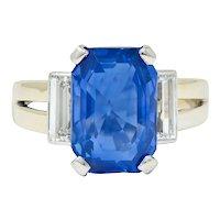 Vintage 9.72 CTW No Heat Ceylon Sapphire Diamond 18 Karat White Gold Unisex Ring Gübelin AGL
