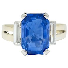 Vintage 9.72 CTW No Heat Ceylon Sapphire Diamond 18 Karat White Gold Unisex Ring Gübelin AGL