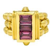 Seidengang Rhodolite Garnet 18 Karat Gold Classic Stacking Band Ring