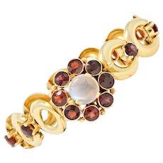 Lambert Bros. Retro Garnet Moonstone 14 Karat Gold Floral Cluster Link Bracelet