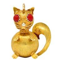 Vintage Italian 18 Karat Two-Tone Gold Cat Pendant Charm