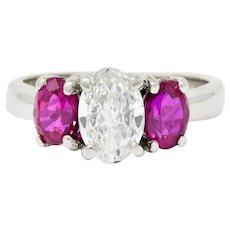 Vintage 2.04 CTW Oval Diamond Ruby Platinum Three Stone Ring