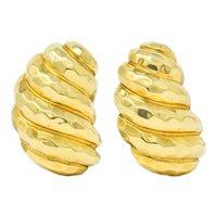 Henry Dunay Vintage 18 Karat Gold Hammered Ear-Clip Earrings Circa 1980
