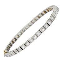 Art Deco 7.00 CTW French Cut Diamond Platinum Line Bracelet Circa 1930