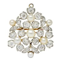 Antique Tiffany & Co. Paulding Farnham Diamond Natural Pearl Platinum-Topped Pendant Brooch