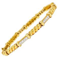 Spark Creations Diamond 18 Karat Two-Tone Gold Ribbed Link Bracelet