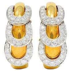 David Webb 3.25 CTW Diamond 18 Karat Gold Platinum Articulated Hoop Ear-Clip Earrings