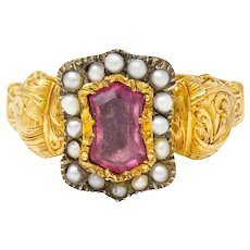 Georgian Silver-Topped 18 Karat Gold Hourglass Seed Pearl Cluster Ring