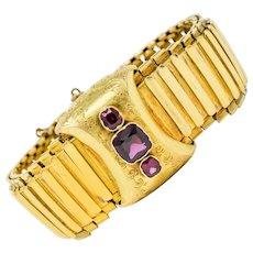 Victorian Rhodolite Garnet 14 Karat Gold Statement Bracelet