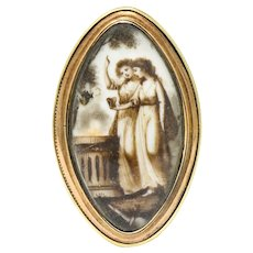 Georgian Sepia Painted 14 Karat Gold Navette Mourning Ring Circa 1800s
