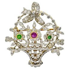 Edwardian Diamond Ruby Demantoid Garnet Platinum-Topped 18 Karat Gold Floral Brooch