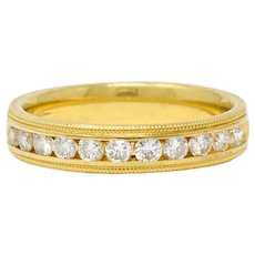 Contemporary 0.55 CTW Diamond 18 Karat Gold Anniversary Band Ring