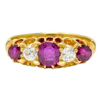 Victorian Ruby Diamond 18 Karat Gold Five Stone Ring