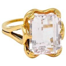 Vintage Emerald Cut Morganite 18 Karat Gold Statement Ring Circa 1980