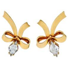 Retro Aquamarine 14 Karat Gold Ribboned Bow Screwback Earrings