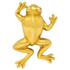 Large David Webb Diamond 18 Karat Yellow Gold Stylized Frog Brooch