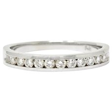 Contemporary Diamond 14 Karat White Gold Channel Band Ring