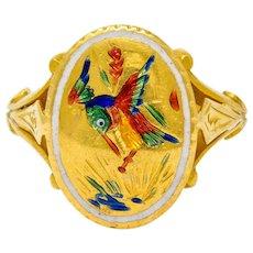 Victorian Enamel 24 Karat Gold Hummingbird Signet Ring