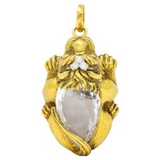 Substantial David Webb Diamond Rock Crystal 18 Karat Gold Lion Pendant Brooch