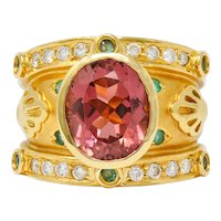 Contemporary Tourmaline Emerald Diamond 18 Karat Gold Statement Ring