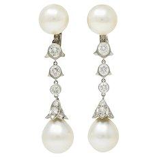 Cartier 2.25 CTW Diamond South Sea Pearl Platinum Articulated Drop Ear-Clip Earrings