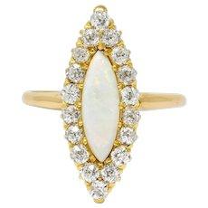 Victorian Diamond Opal 18 Karat Gold Navette Cluster Ring