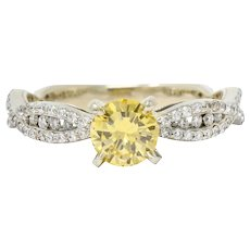 Contemporary 1.95 CTW Fancy Yellow Diamond 14 Karat White Gold Trellis Engagement Ring GIA