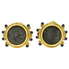 1990 Elizabeth Gage Constantine Roman Ancient Coin 18 Karat Gold Ear-Clip Earrings