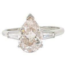 1950's Mid-Century 2.77 CTW Fancy Light Pinkish Brown Pear Diamond Platinum Engagement Ring GIA