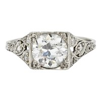 Late Edwardian 1.77 CTW Diamond Platinum Filigree Engagement Ring