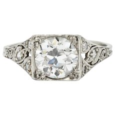 Late Edwardian 1.77 CTW Diamond Platinum Filigree Engagement Ring
