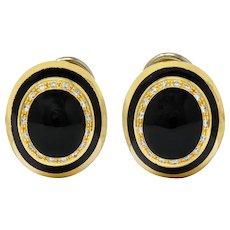Vintage Italian Diamond Enamel 18 Karat Gold Concentric Circle Earrings