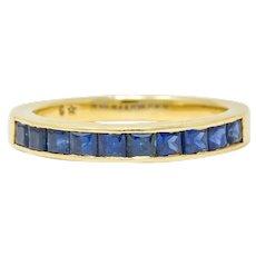 Vintage Sapphire 14 Karat Gold Channel Band Ring