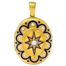 Victorian Pearl Enamel Diamond 18 Karat Gold Starburst Locket Mourning Pendant
