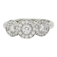 Tiffany & Co. Contemporary 1.00 CTW Diamond Platinum Three Stone Circlet Ring