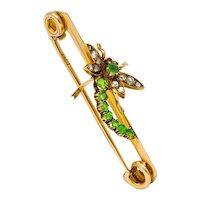Victorian Demantoid Garnet Diamond 15 Karat Gold Dragonfly Brooch