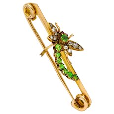 Victorian Demantoid Garnet Diamond 15 Karat Gold Dragonfly Brooch