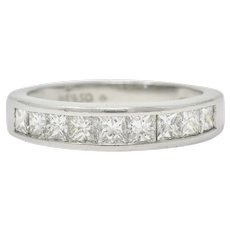Contemporary 1.00 CTW Princess Cut Diamond Platinum Channel Band Ring