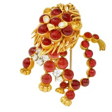 Cartier France Vintage Diamond 18 Karat Gold Whimsical Lion Brooch