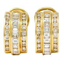 Vintage 2.75 Carat Diamond 14 Karat Gold Channel Set J Hoop Earrings