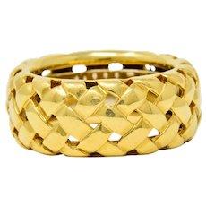 1995 Tiffany & Co. Vintage 18 Karat Gold Vannerie Band Ring