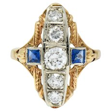 Late Edwardian Diamond Sapphire Platinum-Topped 14 Karat Gold Dinner Ring